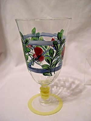 Gail Pittman MAYPOP Glass painted Goblet drinking footed stem