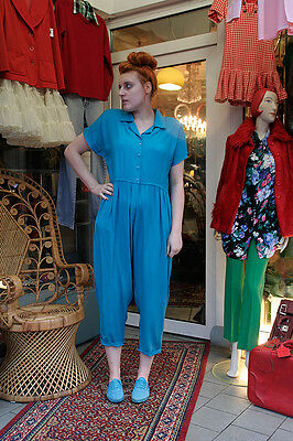 Damen Overall tÜrkis 90er True VINTAGE women jumpsuit 90s with shoulder pads