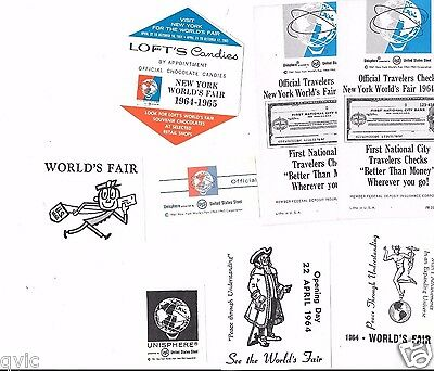 Worlds Fair 1964  9 Pieces Of Adverting From The Fair.