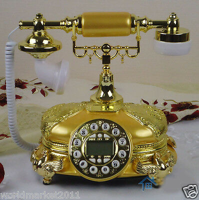 European Archaized Multi-Function Resin+Metal Golden+Yellow Dial Telephone