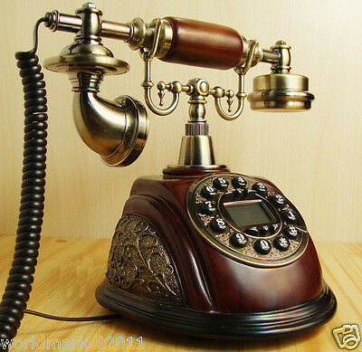 High Grade European Style Creative Imitation Wood Antique Ancient Dial Telephone