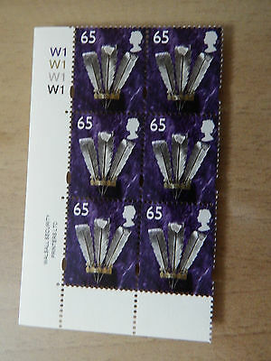 2001 W87 65p WELSH WALSALL REG   WITHOUT BORDERS  CYL W1 BLOCK OF 6  MNH