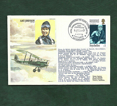Seychelles 1976 Amy Johnson Flight cover Gravesend to Cape Town