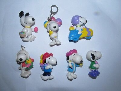 7 x Snoopy Easter PVC Figures LOT C   - EXC COND !!