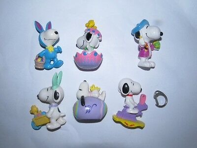 6 x Snoopy Easter PVC Figures LOT D   - EXC COND !!