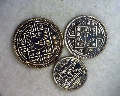 NEPAL 1972  SET 3 PROOF COINS (stock# 0398)