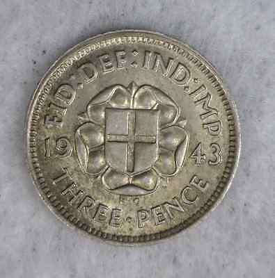 GREAT BRITAIN 3 PENCE 1943 XF/AU SILVER COIN (Stock# 0270)