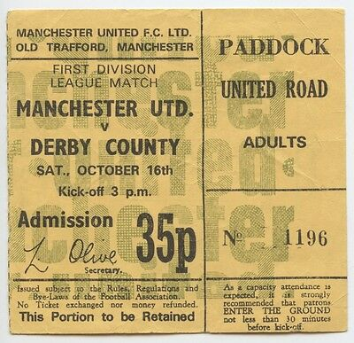 TICKET 1971-72 MANCHESTER UNITED v DERBY COUNTY (Champs)