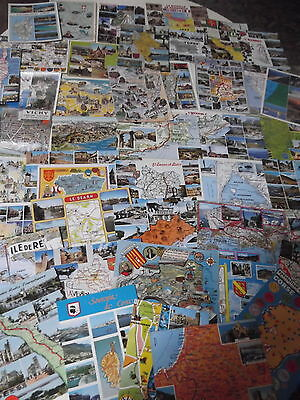 80 Plus Old And Vintage Postcards From Around France, Many Map Cards