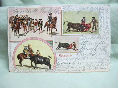 Vintage Post Card- 1904 Mexico Bull Fight