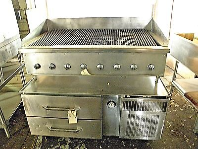 """Randell 2 Drawer 48"""" Equipment Stand Chef Base W/ 47"""" Nat Gas Charbroiler Grill"""
