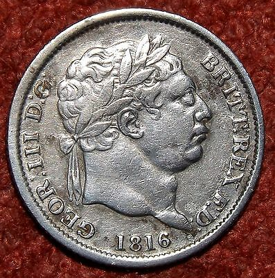 1816 George III .925 Silver Shilling - COLLECTIBLE GRADE & DETAIL