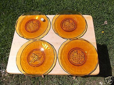 3 Amber Glass Tiara Exclusive 1981 Partridge Plates & One 1982 Turtle Dove Plate