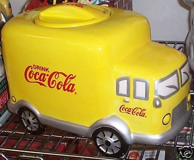 Coca Cola Cookie Jar + S&p Set Yellow Ceramic Coke Delivery Truck Seal Lid