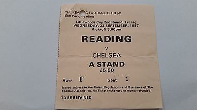 TICKET 1987/88 Reading v Chelsea (Littlewoods Cup)