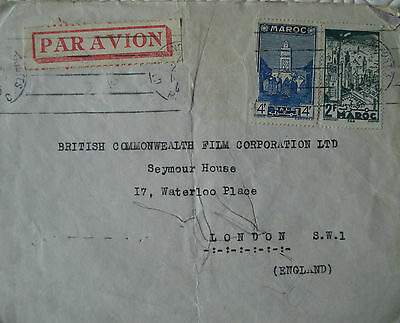 Morocco air mail cover with 2 x stamps to London, UK (1945)