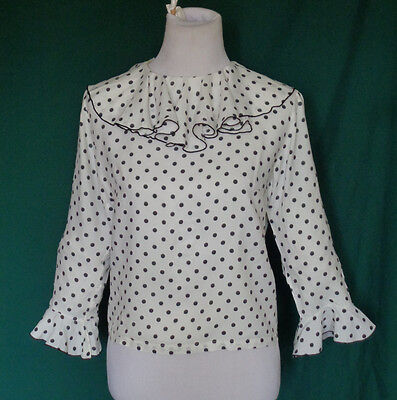 Vintage Ruffled Black and White Polka Dot Polyester Blouse Top B38