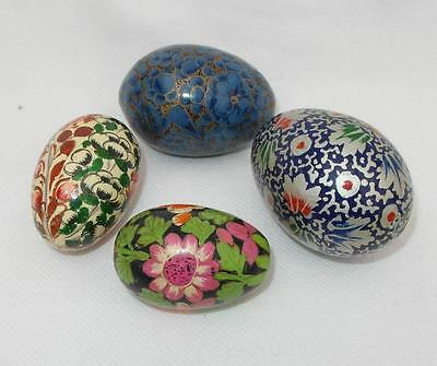 4 x Hand Painted DECORATED WOODEN EGGS Vibrant Colours with Floral Designs