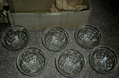 Set Of Six Unused 1950s French Glass Dessert Or Ice Cream Dishes - 9.5cm Dia.
