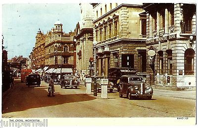 WORCESTER - The Cross - busy street scene with contemporary cars - Jarrold 1968