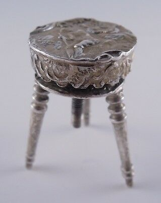 Antique German 800 Silver Revolving Mechanical Piano Stool Miniature Old