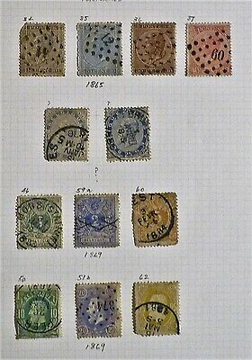 Belgium - Page of 12 x Good Used Early Issues -1865/1869