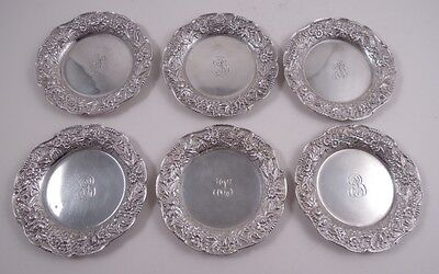 Kirk Repousse Sterling Silver Set 6 Butter Pats Small Dishes Floral 17