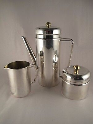 PM ITALY Silverplate Silver on Brass Mid Century Coffee Set EXCELLENT