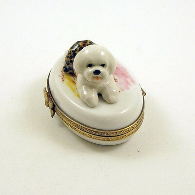 New French Limoges Trinket Box Dressed Up Bichon Frise Dog Puppy On White Box