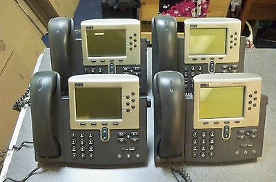 Lot (4) Cisco CP-7960G 7960 IP VoIP Business Phones w/handsets & stands Quantity