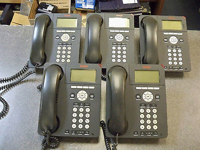 Lot of (5) Avaya 9620 IP Digital Office Phones with Handsets & Stands