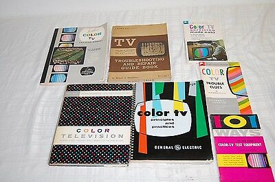Lot Of 7 Vintage Color Tv Repair Related Manuals & Books