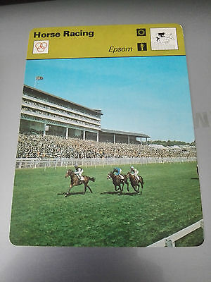 HORSE RACING - EPSOM - HOME of the DERBY - Sportscaster Fact Card -  Rare