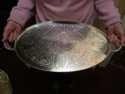 Old Antique Viners Sheffield Silver Plate Butler Size Wine Champagne Tray
