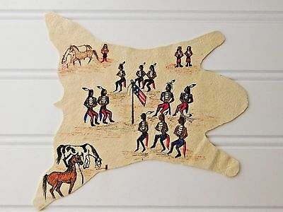 Vtg 'Rainbow Hand' PAINTED HIDE Flag Horses Indians Dollhouse Miniature Tepper