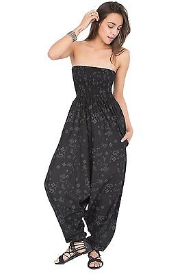2 in 1 Maxi Harem Pants and Jumpsuit with Paisley Motif