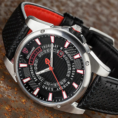 DETOMASO BUSINESS PUNK Mens Wrist Watch Stainless Steel Black Red Day & Date New