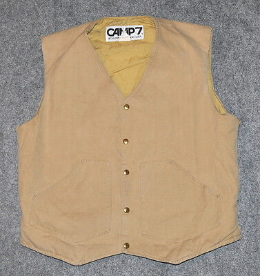 vintage CAMP 7 INSULATED CANVAS VEST Camping + Backpacking Made USA sz M Vest
