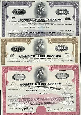 3 United Air Lines, Inc., Bonds $6000 Red + $1000 Brown + $1000 Purple  3 Bonds