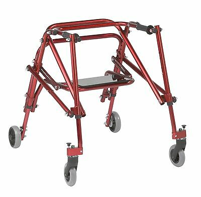 "Red Size Medium Nimbo Gait Trainer Posterior Walker with Seat, 23""-30.5"" Handle"