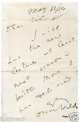 OSCAR WILDE Signed Letter - Writer / Author / Poet / Humourist 7x5 - preprint