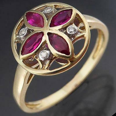 Interesting RUBY & DIAMOND 9ct Solid Yellow GOLD ROUND CLUSTER RING Sz P