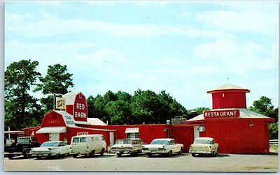 Texarkana, Texas- Ark. Postcard RED BARN Restaurant Bar Schlitz Beer Sign c1960s