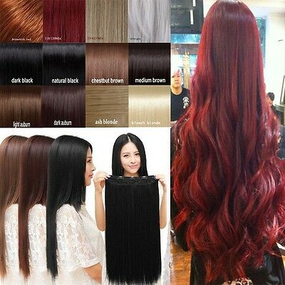Real Thick Women  3/4 Full Head Clip in Hair Extensions Top Natural Synthetic AU