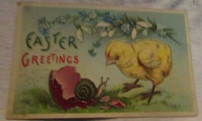 vintage antique easter post card postcard flowers, snail, and baby chick die-cut
