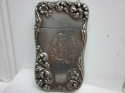Antique Sterling Silver Art Nouveau Match Safe Holder Floral Flowers Vintage N/R