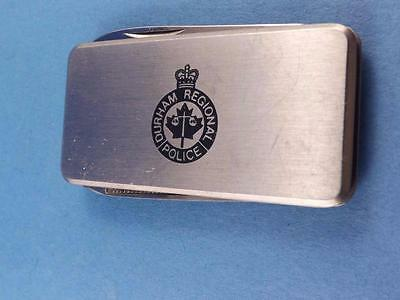 Durham Regional Police Barlow Japan Folding Pocket Knife Money Clip Advertising