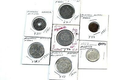 Lot of 7 Old Morocco Coins 1921 1953 1945 No Reserve