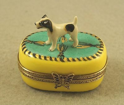 New French Limoges Trinket Box Jack Russell Terrier Dog Puppies In Poppy Field
