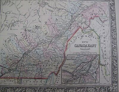 Orig Color Map 1860 Canada East In Counties Montreal Quebec Mitchell's Atlas